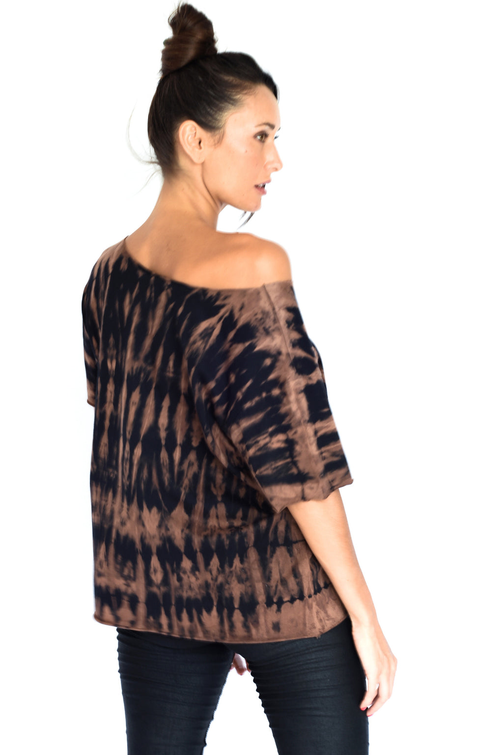 'MEGAN' TOP - BLACK AND BROWN TIE DYE