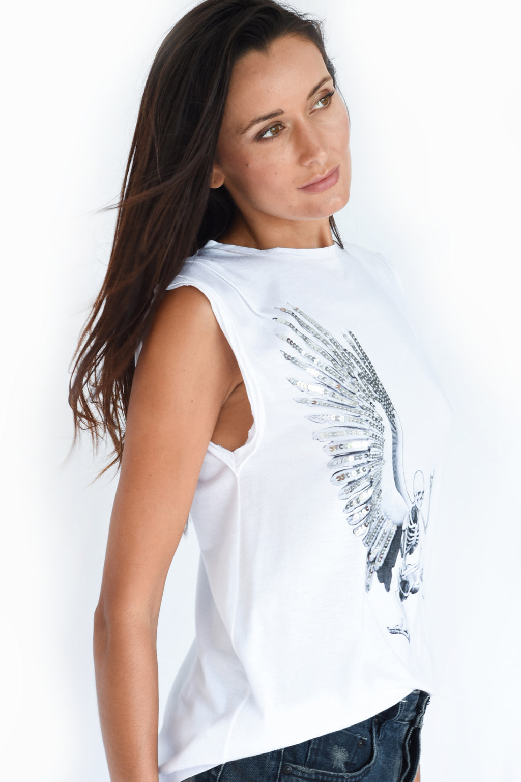 PRE-ORDER - 'ANGEL' SLEEVELESS TANK TOP - WHITE