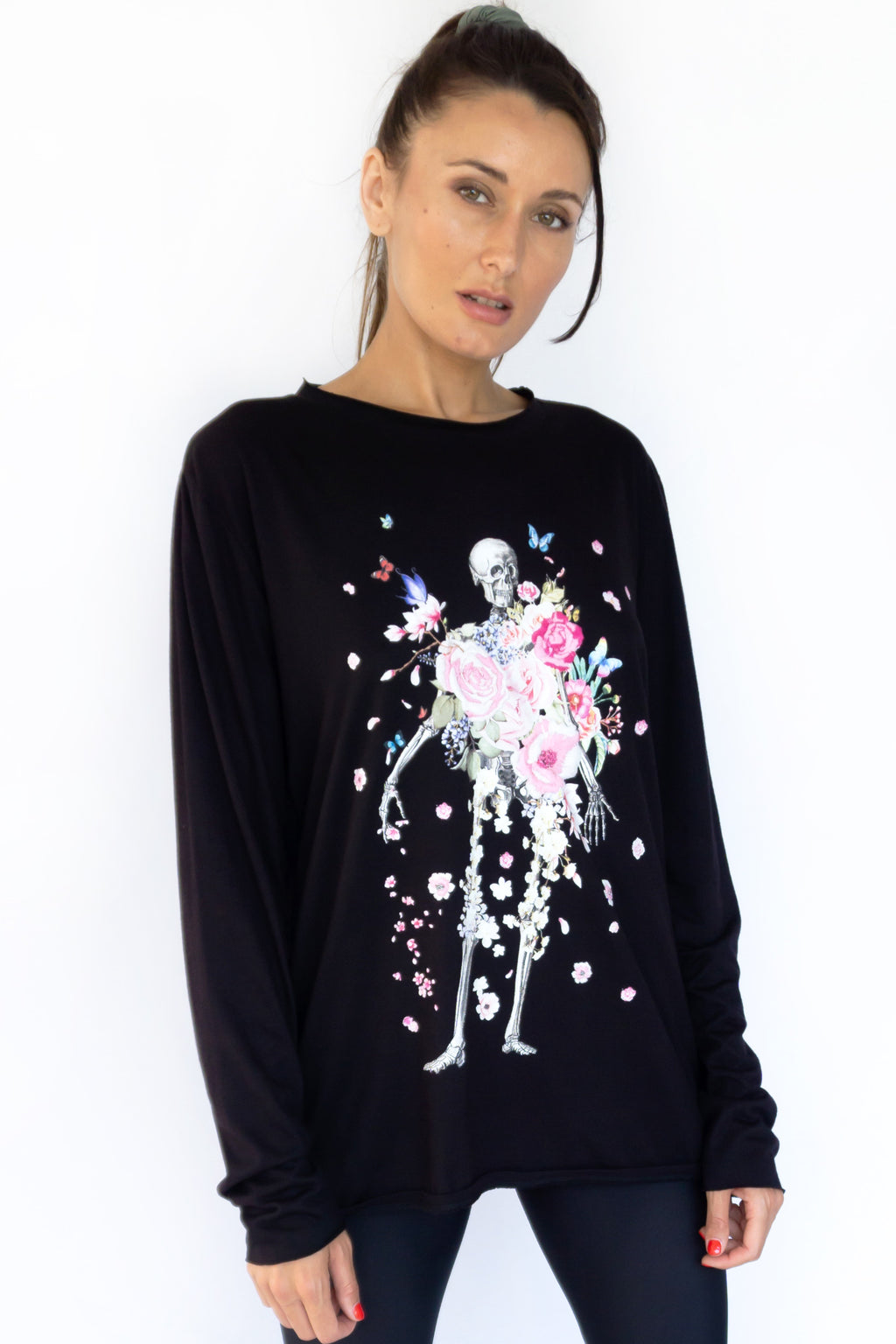 PRE-ORDER - 'SKELETON FLOWER' LONG SLEEVE TEE - BLACK