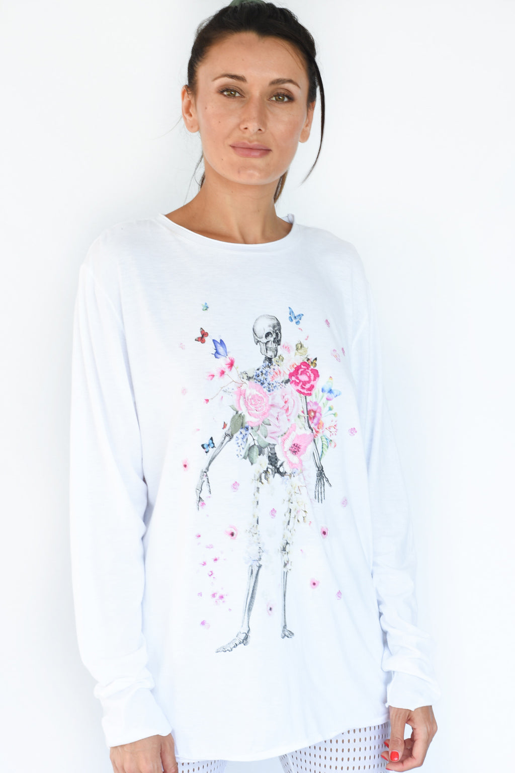 PRE-ORDER - 'SKELETON FLOWER' LONG SLEEVE TEE - WHITE