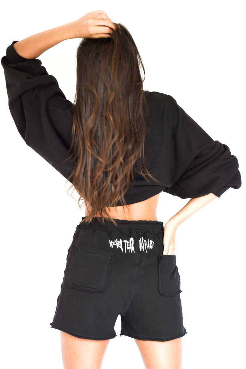 PRE-ORDER - 'COULD FLY' PUFF SLEEVE CROPPED SWEATSHIRT - BLACK
