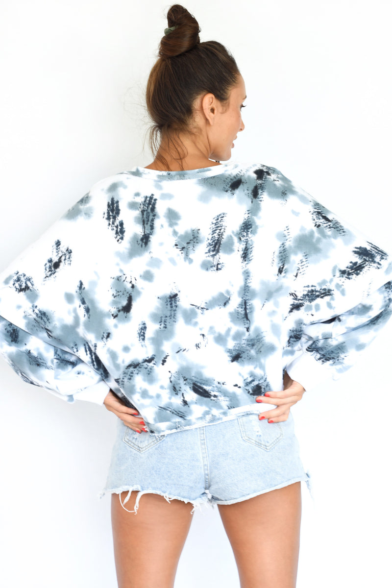 PRE-ORDER - 'COULD FLY' PUFF SLEEVE CROPPED SWEATSHIRT - MARBLE TIE-DYE