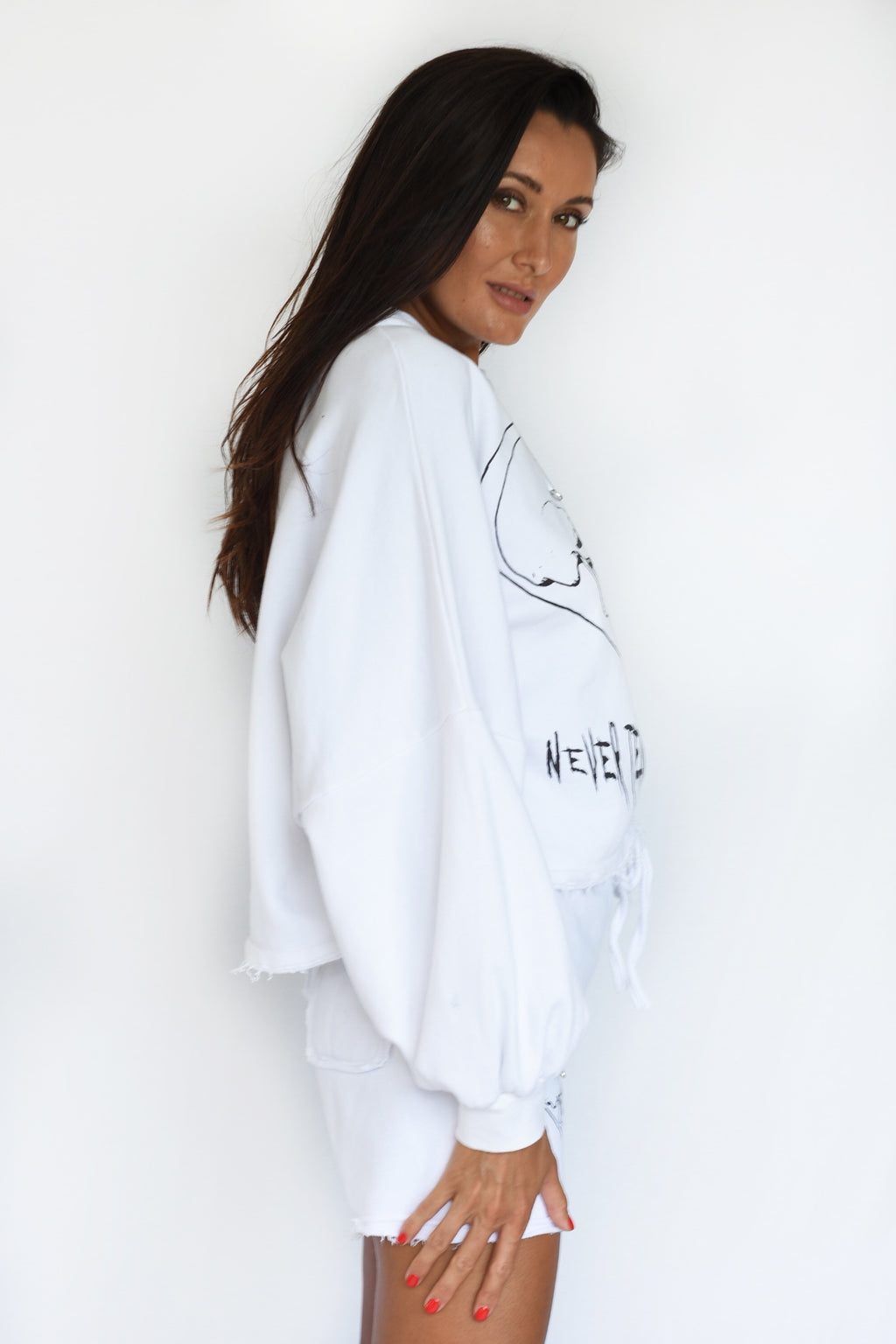 PRE-ORDER - 'COULD FLY' PUFF SLEEVE CROPPED SWEATSHIRT - WHITE