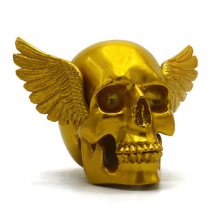 RESIN WINGED SKULL - GOLD