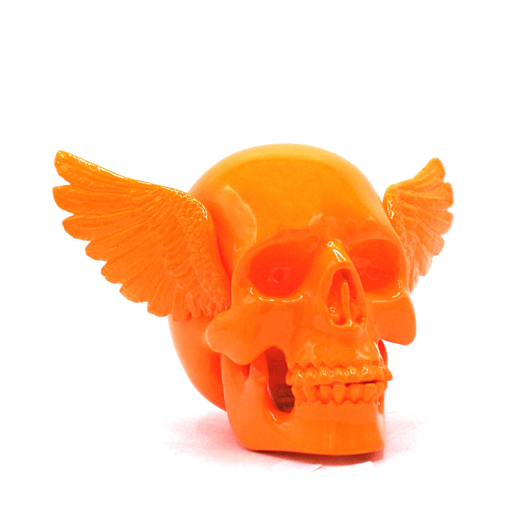 RESIN WINGED SKULL - ORANGE