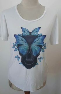 WOMANS - TEE - WHITE - BUTTERFLY - SMALL - SKULL BRAND