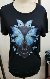 WOMANS - TEE - BLACK - BUTTERFLY - SMALL - SKULL BRAND