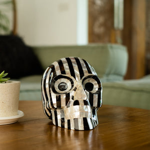 BLACK & WHITE MOTHER OF PEARL STRIPE MOSAIC SHELL SKULL - LARGE - 'STRIPES ARE IN'