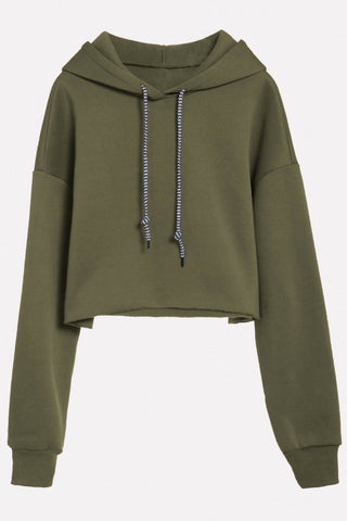 Army-green Drawstring Long Sleeve Casual Cropped Hoodie