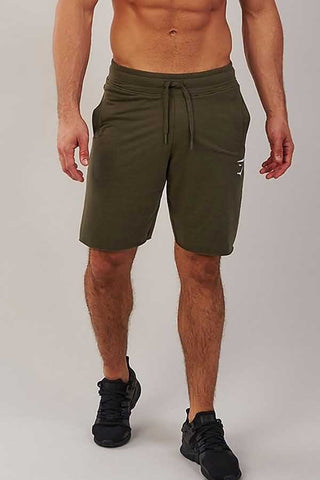 Army-green Graphic Print Drawstring Waist Sport Shorts
