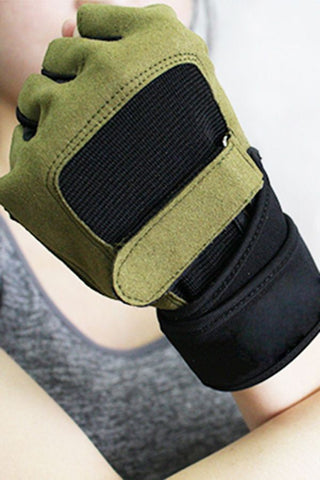 Army-green Non-slip Breathable Half Finger Cycling Gloves