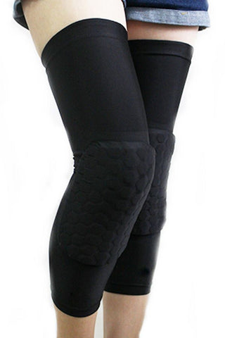 Black Crashproof Antislip Honeycomb Pad Knee Sleeve
