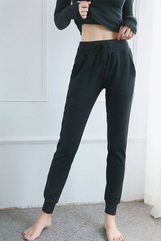 Black Drawstring Pocket High Waist Sports Pants