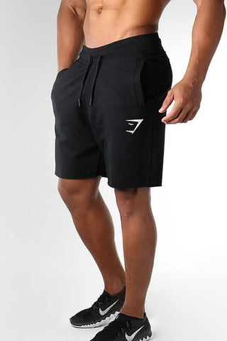 Black Graphic Print Drawstring Waist Sport Shorts