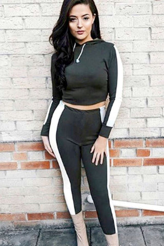 Black Hoodie Drawstring Two Tone Workout Sports Set