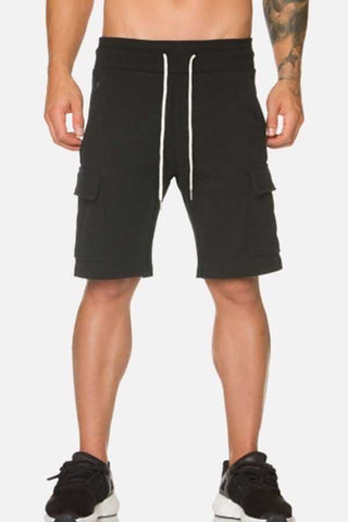 Black Pocket Side Drawstring Sport Shorts
