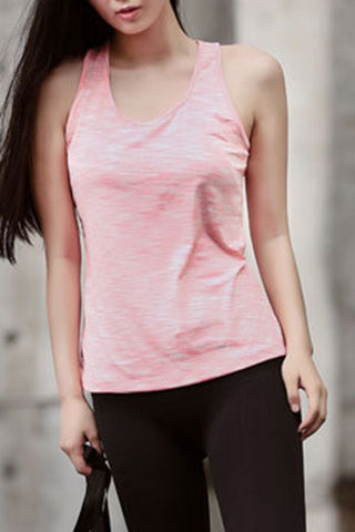 Coral Crisscross Round Neck Fitness Dance Sports Tank