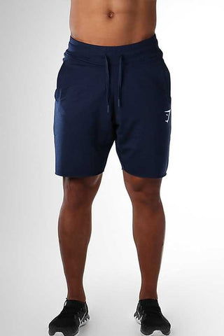 Dark-blue Graphic Print Drawstring Waist Sport Shorts