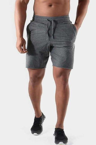 Gray Graphic Print Drawstring Waist Sport Shorts