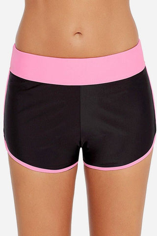 Hot-pink Contrast Two Tone Stretchy Swim Sports Shorts