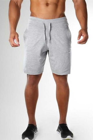 Light-gray Graphic Print Drawstring Waist Sport Shorts