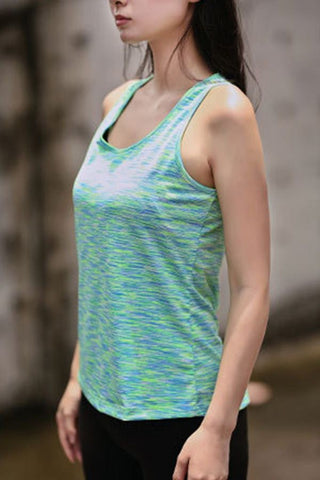 Light-green Crisscross Round Neck Fitness Dance Sports Tank