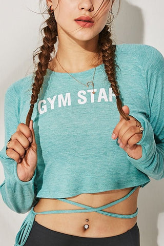 Light-green Slogan Tied Thumb Hole Long Sleeve Workout Sports Crop Top