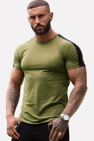 Army-green Curved Hem Short Sleeve Casual Sport T-shirts