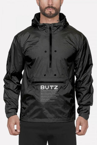 Black Letters Print Zipper Front Hooded Collar Sports Rain Jackets