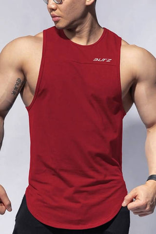 Dark-red Letters Print Curved Hem Sports Tank Top