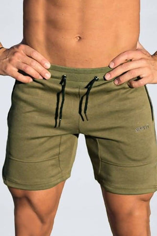Army-green Dolphin Drawstring Waist Casual Shorts