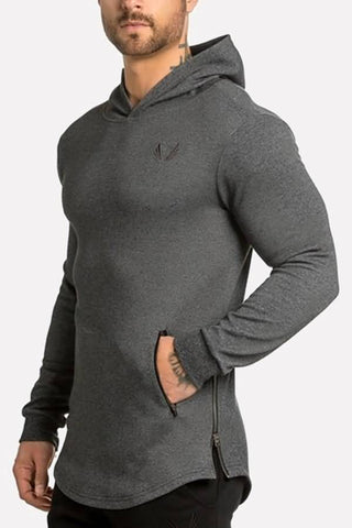 Dark-gray Embroidery Zipper Pocket Curved Hem Sporty Hoodie