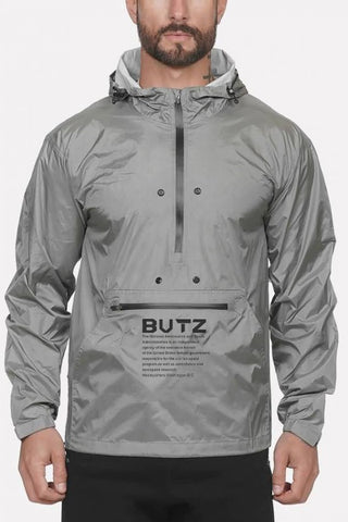 Gray Letters Print Zipper Front Hooded Collar Sports Rain Jackets