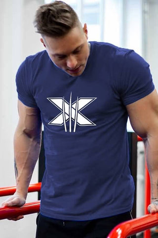 Dark-blue Print Short Sleeve Sports Tee
