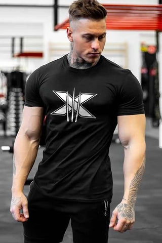 Black Print Short Sleeve Sports Tee