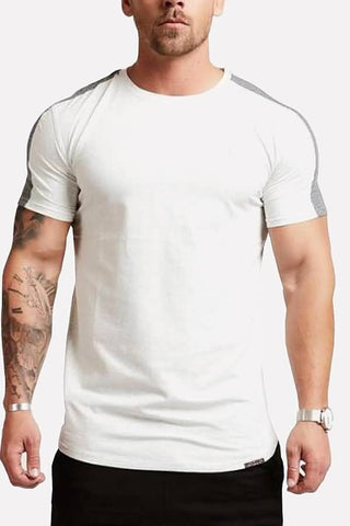 White Curved Hem Short Sleeve Casual Sport T-shirts