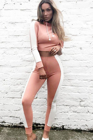 Pink Hoodie Drawstring Two Tone Workout Sports Set