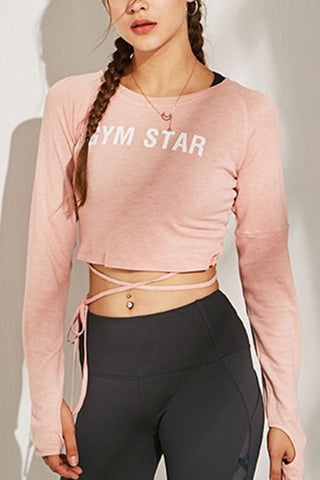 Pink Slogan Tied Thumb Hole Long Sleeve Workout Sports Crop Top