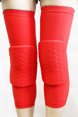 Red Crashproof Antislip Honeycomb Pad Knee Sleeve