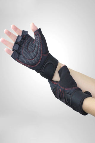 Red Non-slip Breathable Half Finger Sportswear Gloves