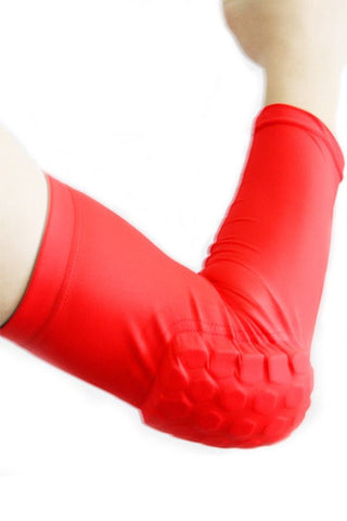 Red Protective Hexagon Pad Elbow Support Sleeves