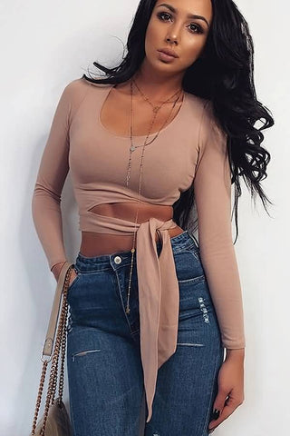Apricot Scoop Neck Cutout Tied Long Sleeve Sexy Crop Top