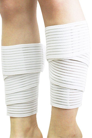 White Compression Calf Strap Support
