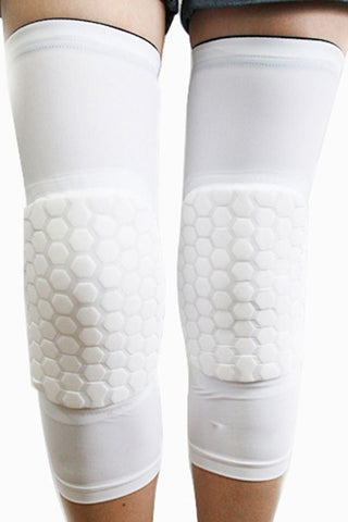 White Crashproof Antislip Honeycomb Pad Knee Sleeve