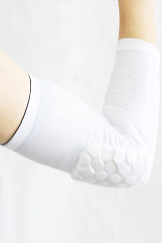White Protective Hexagon Pad Elbow Support Sleeves