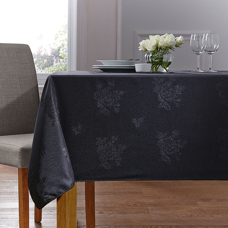 Cezanne Black Damask Rose Table Cloth