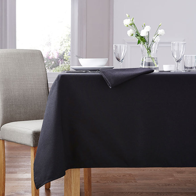 Forta 100% Polyester Plain Table Cloth - Black