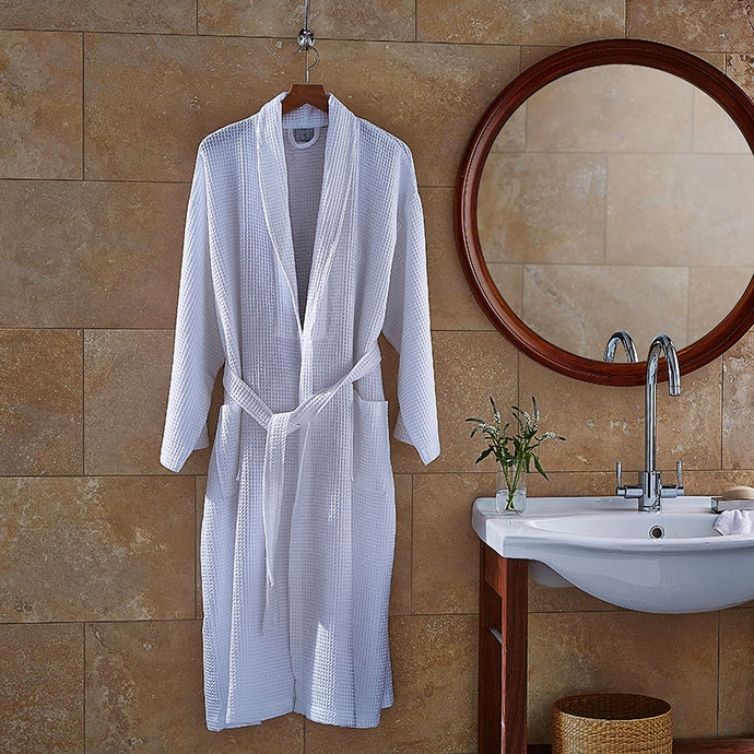 Luxury Spa White Waffle Bath Robe