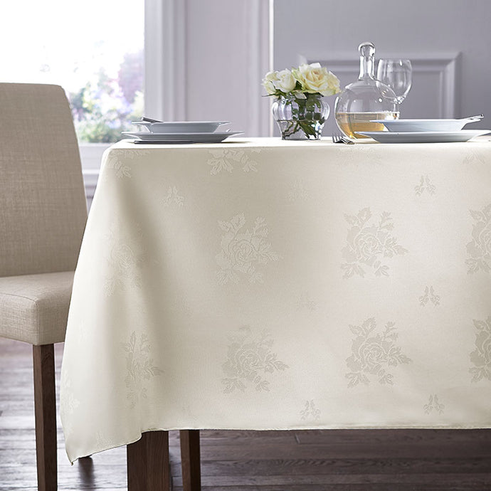 Cezanne Ivory Damask Rose Table Cloth