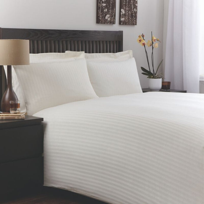 Murano White Cotton Rich Satin Stripe Long Duvet Cover- 1